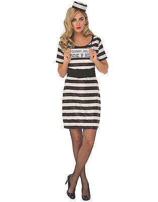 Gefangene Damen Erwachsene Dieb Criminal Halloween Kostüm Kleid ()