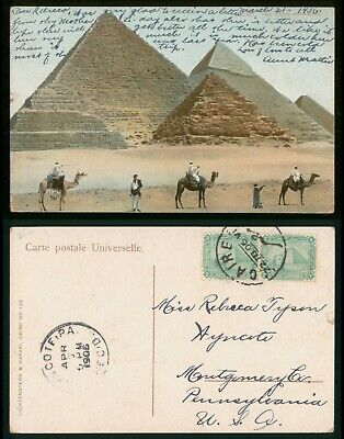 Mayfairstamps Egypt PC 1906 Caire PA USA Pyramids Men on Camels Postcard wwo_569