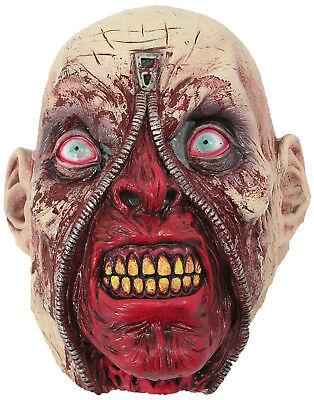 Reißverschluss Gesicht Herren Erwachsene Unheimlich Toter Zombie Kostüm (Gesicht Reißverschluss Kostüm)