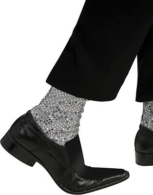 Michael Jackson Thriller Silver Sequins Mens Socks Halloween Costume Accessory