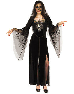 Mourning Maiden Adult Women Gothic Death Witch Halloween Costume-Std - Woman Death Halloween Costume