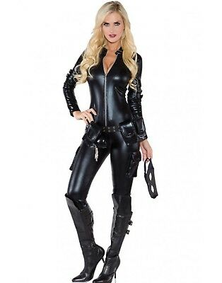 Sexy Schwarze Witwe Catsuit Catwoman Damen Halloween Kostüm (Schwarze Witwe Kostüm Sexy)