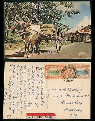 Mayfairstamps Trinidad 1956 Port of Spain OX Cart to US Postcard wwo80981