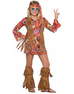 Frieden Lovin Hippie 18.3mS 21.3mS Retro Groovy Mädchen Fransen - Frieden Mädchen Kostüm