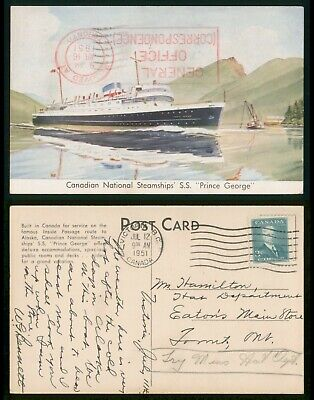 Mayfairstamps Canada 1951 Victoria Prince George Steampship Postcard wwp5817