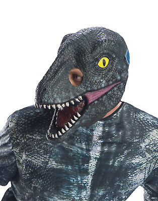 Jura-Welt 2 Herren Erwachsene Velociraptor Blau 3/4 Dinosaurier Maske - Velociraptor Kostüm Blau