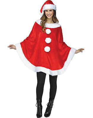 Mrs Santa Claus Womens Adult Christmas Holiday Plush Costume Poncho - Mrs Santa Claus Costume