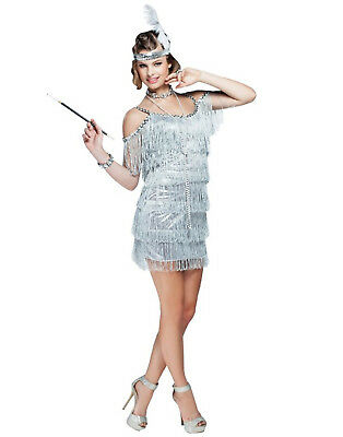 Silver Martini 1920S Flapper Dress Adult Plus Size Halloween Costume