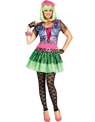 Rocking 1980'S Neon Lace Punk Rock Womens Halloween Costume