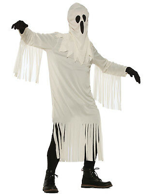Halloween White Ghost Costume (Classic Sheet Ghost White Gown Scary Adults Halloween)