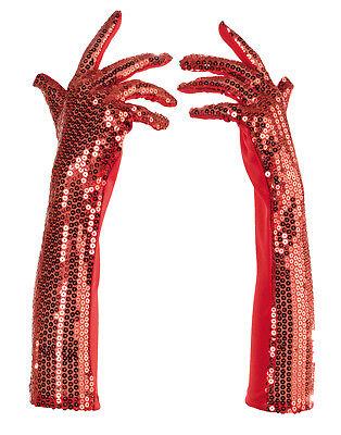 Rot Pailletten Lang Erwachsene Damen Flapper Kostüm Handschuhe