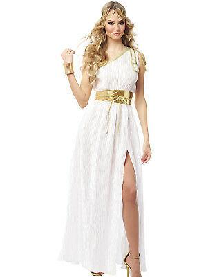 Grecian Beauty Womens White Gold Roman Toga Halloween Costume