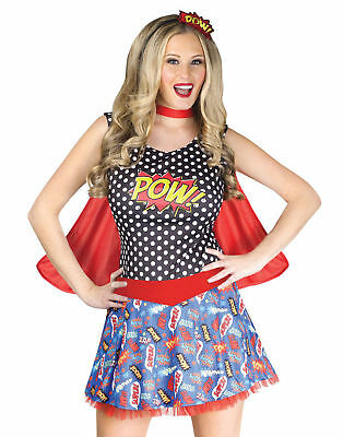 Comic Book Cutie Adult Costume Fancy Dress POW Womens Cartoons Red Cape Cosplay