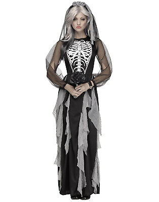 Skeleton Bride Adult Womens Corpse Bride Halloween Costume Gown - Skeleton Bride Costume