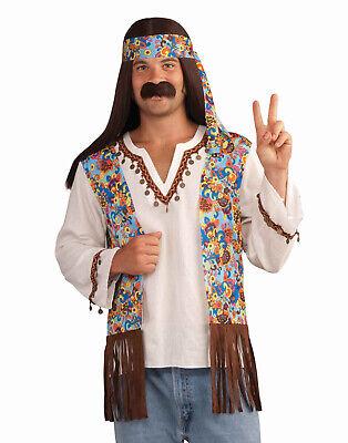 Male Hippie Groovy Set Costume Adult Standard Fancy Dress New Halloween - Male Hippie Clothes