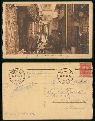Mayfairstamps Tunisia 1933 Rue De L'Eglise to Lyone France Postcard wwo88313