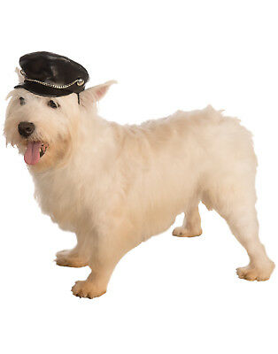 1950'S Retro Pet Dog Cat Biker Costume Hat Cap With Chain