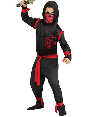 Drachen Ninja Krieger Schwarz Rot Japanisch Kämpfer Kinder Halloween (Japanischen Ninja Krieger Kostüm)
