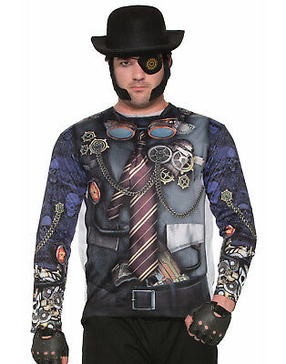 Steampunk Mens Adult Industrial Fantasy Printed Costume Shirt (Mens Fantasy Costumes)