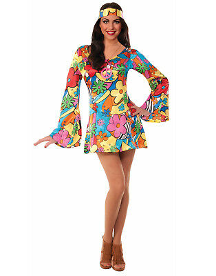 Groovy Go Go Flower Dress Hippie Halloween Costume Womens - M/L