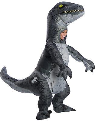 Jurassic World 2 Jungen Aufblasbar Velociraptor Blau Kostüm mit - Velociraptor Kostüm Blau