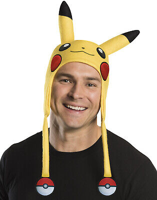 Adult Pikachu Electric Pokemon Winter Costume Beanie Hat Cap With Ears (Electric Costumes)
