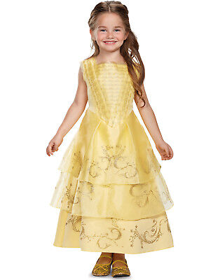Disney Beauty And The Beast Belle Girls Deluxe Princess Ball Gown Costume - Belle Disney Princess Costume