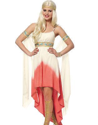 Womens Sexy Coral Goddess Roman Medieval Renaissance Toga Halloween Costume - Renaissance Goddess