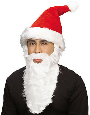 Traditional Red Plush Santa Claus Christmas Hat With Attached Beard