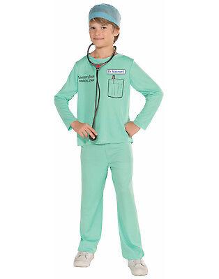 Er Surgical Staff Doctor Green Hospital Scrubs Boys Costume (Er Doctor Costume)