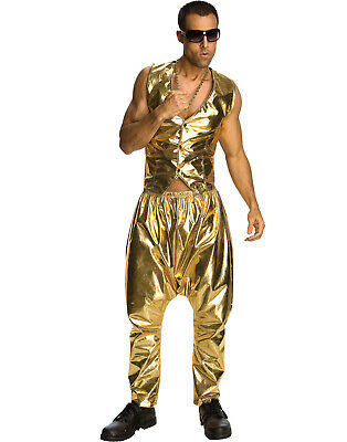 Vanilla Ice Mc Hammer 80'S Rapper Men Parachute Metallic Gold Pants Costume Std - Pants Costume