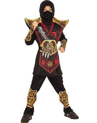 Red Ninja Costume For Boys (Battle Ninja Boys Royal Warrior Gold Red Child Halloween)