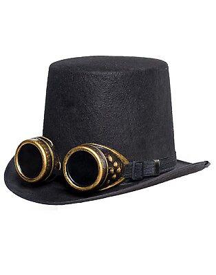 Hut Herren Erwachsene Brille Steampunk Viktorianisch Kostüm Schwarz Top (Herren Kostüm Top Hats)