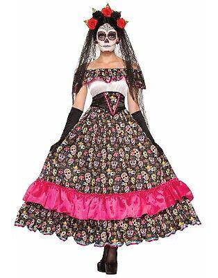 Day Of The Dead De Los Muertos Adult Spanish Lady Dress Costume- Std](Lady Of The Dead Costume)