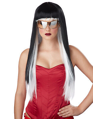Lady Gaga Lange Weiß / Schwarz Diva Sexy Punk Damen Halloween - Lady Gaga Halloween Kostüm