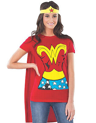 Sexy Red Wonder Woman T-Shirt & Cape Adult Womens Halloween - Wonder Red Kostüm