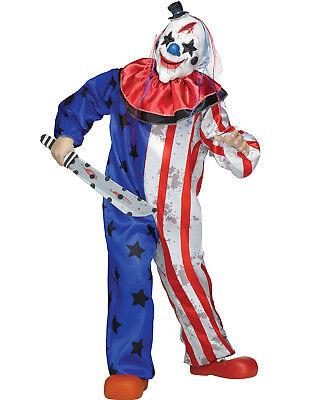 Böse Gruselig Patriotisch Killer Clown Kinder Säuberung Halloween COSTUME-M (Kind Killer Clown Kostüm)