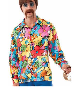 Hippie Groovy Go Go Herren Erwachsene 60er Jahre Kostüm Blumenmuster - 60er Jahre Hippie Kostüm Shirt