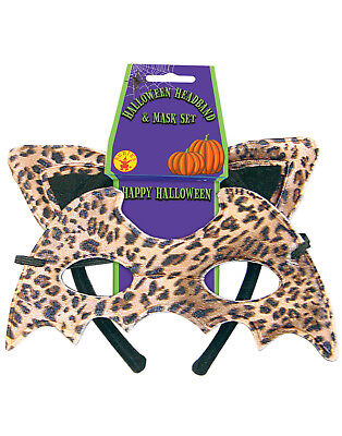 Leopard Cat Ears Animal Print Headband & Eyemask Halloween Costume - Leopard Halloween Ears