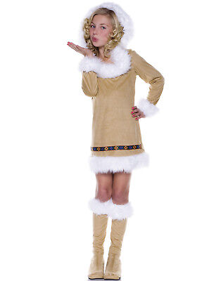 Eskimo Kisses Girls Winter Indian Brown Hooded Halloween Costume](Eskimo Halloween Costume Girl)
