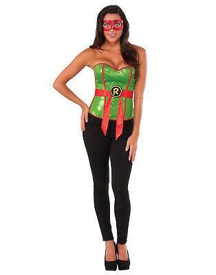 Womens Ninja Turtle Green Sequin Raphael Corset