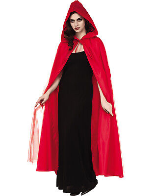 Red Full Length Adult Gothic Devil Little Red Riding Hood Costume Cape With - Little Red Riding Hood Cape Adult