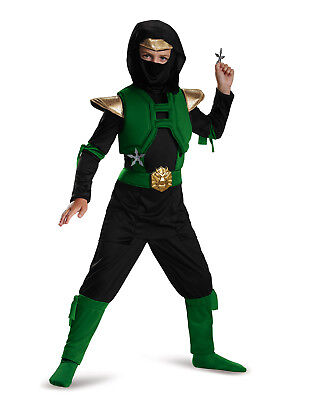 Grün und Schwarz Master Ninja Krieger Deluxe Jungen Halloween Kostüm