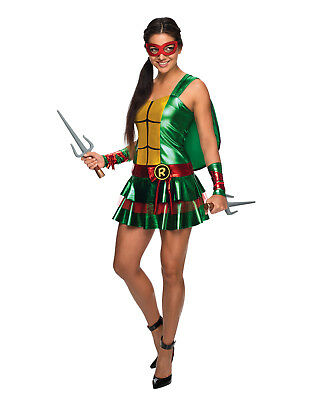 Womens Ninja Turtle Green Shell Dress Raphael Costume Xs