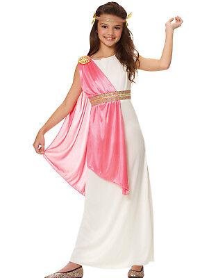 Roman Empress Girls Pink Greek Goddess Toga Halloween Costume