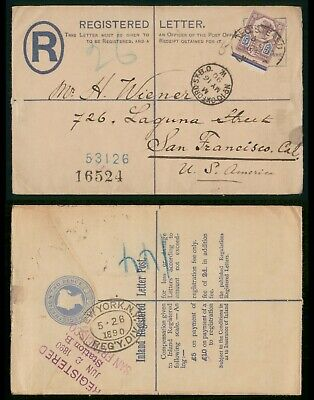 Great Britain 1890 Uprated QV Registered Stationery Cover to US San Francisco CA