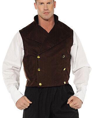 Zweireihig Braun Steam Punk Viktorianisch Erwachsene Herren Kostüm - Veste Kostüm