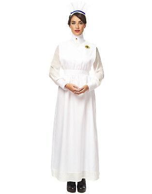 Vintage War Nurse Adult Womens White Uniform Halloween Costume