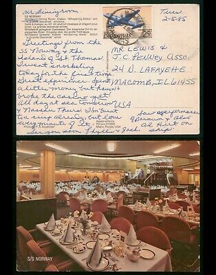 Mayfairstamps Bahamas 1985 to Macomb IL SS Norway Dining Area Picture Postcard w