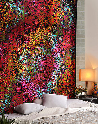 Indian Star Mandala Tapestry Hippie Queen Bedspread Psychedelic Wall Hanging Art
